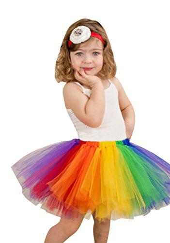 Tanz Für Mädchen Jazz Kostüme (NiSeng Kinder Mädchen Regenbogen Partei Tanzkleid Ballettrock Tüllrock Tütü Ballettkleid Tutu Rock Petticoat)