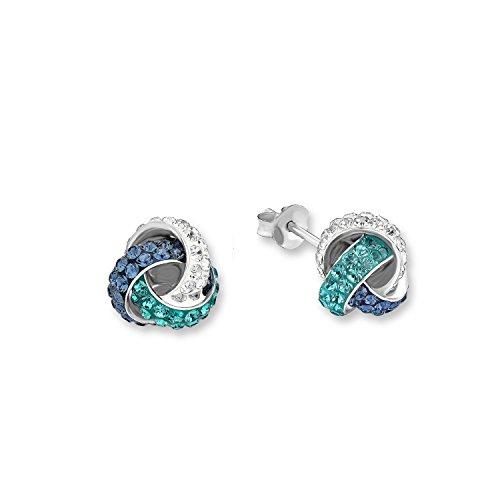 Amor Damen-Ohrstecker 10 mm Knoten 925 Silber veredelt mit Swarovski Kristallen blau türkis