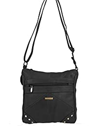 LADIES GENUINE LEATHER CROSS BODY BAG (REF3768) (Black)