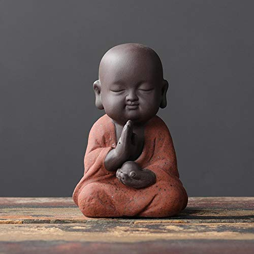 Decorativos Budismo Zen Chino Té Pet Hecho A Mano Seis Grados Pequeño Monje Bo Gujia Decoración Decoración De Oficina-El Sexto Grado De Retención Anillo Pequeño Arena Barro Rojo