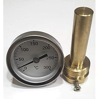 Termómetro para Puerta de hornos de leña, Escala de 0 a 300ºC con Vaina de 50 mm