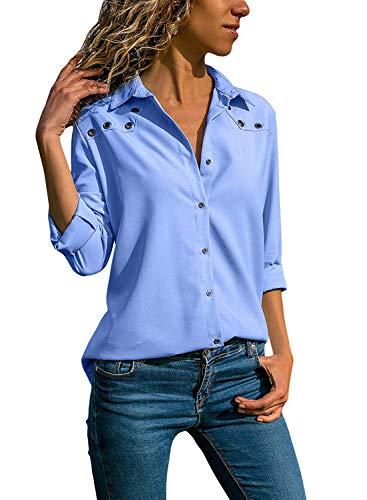 Quceyu Damen Bluse Langarm V-Ausschnitt Elegant Einfarbig Hemd Casual Oberteile Top (Hellblau, Medium)