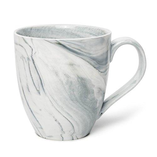 Hausmann & Söhne XXL Tasse weiß groß aus Porzellan in Grauer Marmorierung | Jumbotasse 500 ml (550 ml randvoll) | Kaffeetasse/Teetasse groß | Kaffeebecher Marmor | Geschenkidee (Große Tassen)