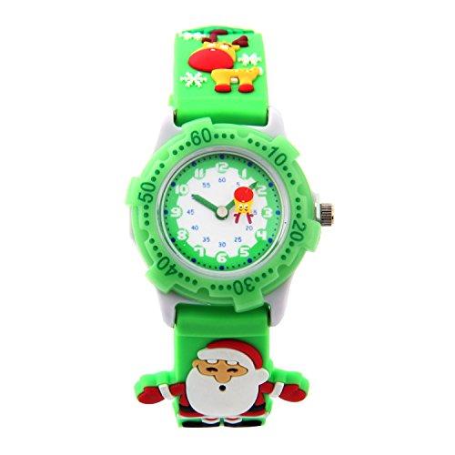 MIFXIN 3D niedliche Karikatur-Quarz-Uhr-Armbanduhren mit Silikonband Zeitlehrer für kleine Mädchen-Jungen-Kind-Kind-Geschenk (Green Santa Claus)