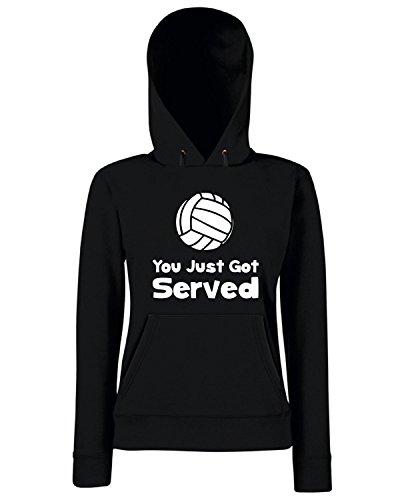 T-Shirtshock - Sweats a capuche Femme OLDENG00719 volleyball served Noir