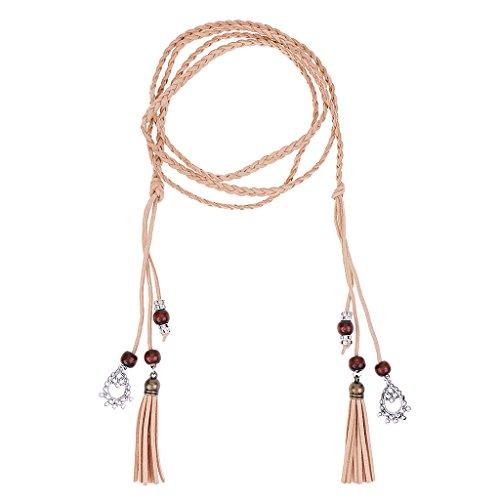 Sharplace 165cm Länge Schmale Gürtel Taillengürtel Mode Damen Kleidgürtel Hippie Quaste - Khaki, 165 cm