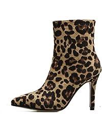 b29fd696a79c Femmes imprimé léopard Talons Hauts Pointu Chaussures Zip Party Talons  Aiguilles Pointu Toe Chelsea Boots Minces