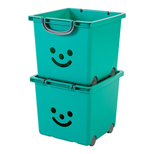 IRIS, 2er-Set Würfelboxen 'Smiley Kids Boxes', KCB-32, Kunststoff, mit Rollen, laguneblau, 33 x 32 x 29 cm (Rollen Iris)