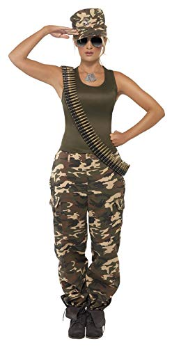 Ladies Deluxe Army Babe Camo Military Soldier Uniform Hen Night Party Carnival Fancy Dress Costume Outfit UK 8-18 (UK 8-10)