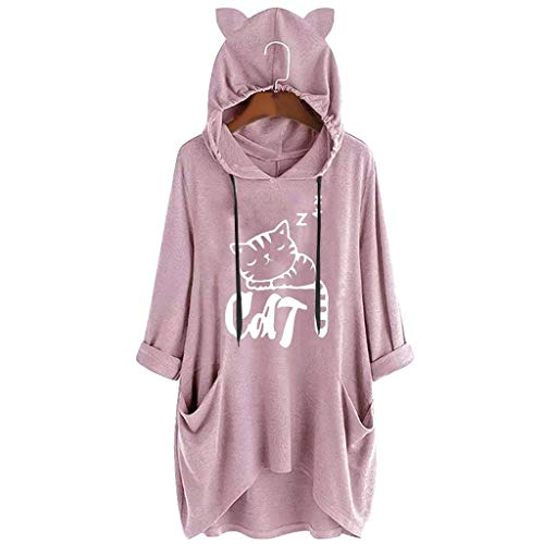 Briskorry Damen Hoodie Katze Shape Langarmshirts Herbst Oberteil Irregular Bluse Tunika Tops Casual Drucken Longshitrs Kapuzenpullover Hemdbluse