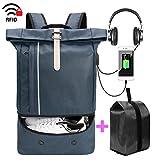 Herren Damen Reiserucksack mit Schuhe Tasche für 15,6 Zoll Laptop, Modern Roll Top Daypack, Wasserabweisend Backpack für Alltag, Reise, Schule Blau
