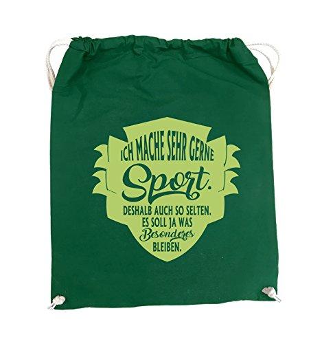 Comedy Bags - Ich mache sehr gerne sport deshalb auch so selten - Turnbeutel - 37x46cm - Farbe: Schwarz / Silber Grün / Grün