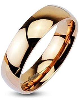 Paula & Fritz® Ring aus Edelstahl Chirurgenstahl 316L roségold 4mm breit Classic Line Dome Band hochglanz poliert...