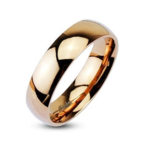 Paula & Fritz anello in acciaio inox oro rosa 4mm Larghezza Linea Classica A cupola Cinturino lucido, con anello misure disponibili 47(15)-66(21), acciaio inossidabile, 53 (16.9), colore: Rose-Gold, cod. R005-4_70
