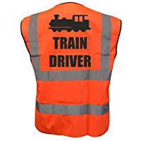 Train Driver Kids Yellow Orange Pink Hi Vis Viz Vest Waistcoat, Childrens High Visibility Reflective Fancy Dress