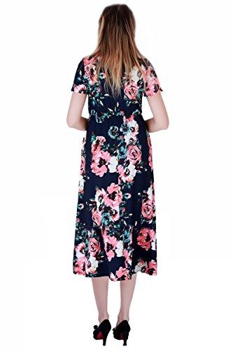 YMING Vestito floreale delle donneVestito casuale maxi da stampa floreale del vestito lungo di stile di Boho, S-XXXL Blu, vestito a maniche corte Midi