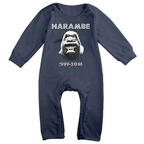 TOPDIY Harambe Gorilla 1999-2019 Baby Onesie Romper Long Sleeve Jumpsuit Baby Clothes