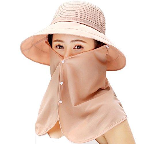 ZHongWei Femmes Chapeau de Soleil Large en Nylon Parasol Pliable UV Respirant Masque équitation Voyage Casual Cap (6 Couleurs en Option) Chapeau de Soleil (Color : 1)