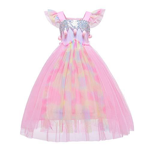 GNLY Mädchen Prinzessin Anna Schneeflocke Süßer Ausschnitt Kleid Kostüme Set ,Cosplay Party Hochzeit Prinzessin Kleid,2-9 Jahre