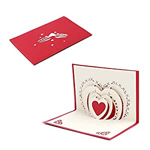 Kofun biglietto d' auguri con busta, i Love you 3D Pop Up biglietto d' auguri di compleanno di Natale anno nuovo invito cartolina di taglio della carta regalo per San Valentino, festa rosa