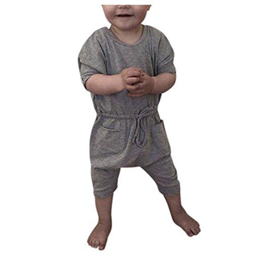 Bekleidung Longra Neugeborene Baby Jungen Kurzarm Strampler Jumpsuit Spielanzug Overall Baby Outfits Kleidung Sommer(0 -24 Monate) (100CM 18-24Monate, Gray) (Neugeborene Jungen Kleidung Elch)