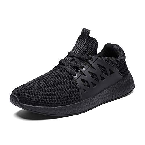 Scarpe da Tennis comode e Traspiranti per Uomo Scarpe da Passeggio Leggere Sneakers (44 EU, 2-Nero)