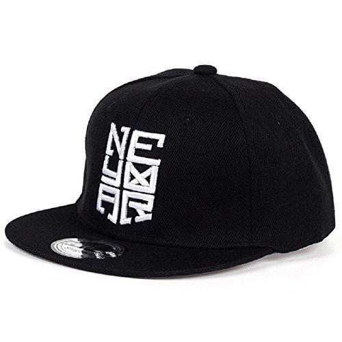 VIOY Brasilien Fußball Neymar Kinder Hut Street Dance Hip-Hop Flache Baseballmütze,schwarz,Einheitsgröße -