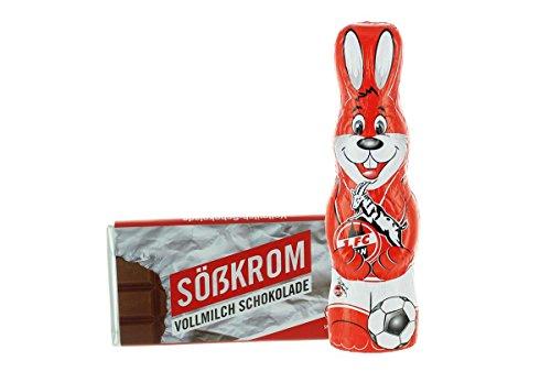 Kleines Ostern-Schoko-Fanpaket - Bundle mit einem Osterhasen und einer Schoko-Tafel aus Fairtrade-Kakao (250 g) (1. FC Köln)