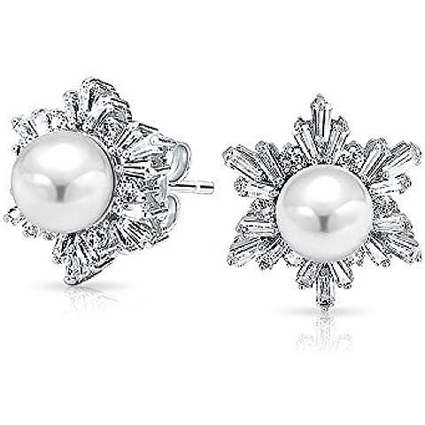 Bling Jewelry Baguette CZ White Pearl fiocco di neve Cluster Orecchini