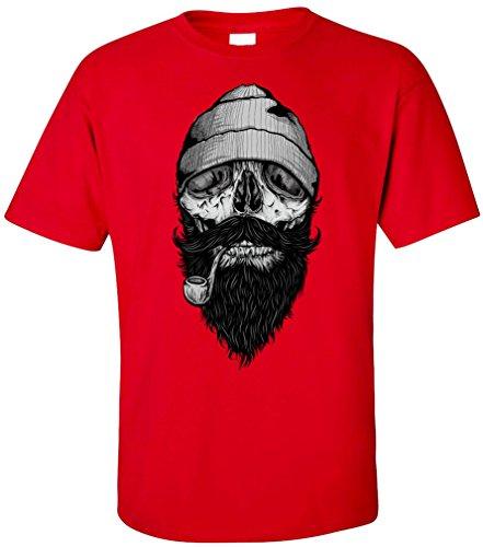 PAPAYANA - BONE-SAILOR - Herren T-Shirt - HIPSTER SKULL FACE ANCHOR ANKER SHIP DOPE Rot