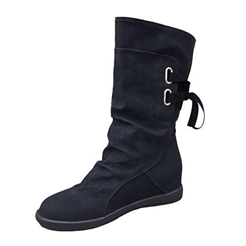 Women Boots ,MEIbax Ladies Womens Low Wedge Buckle Biker Ankle Trim Flat...