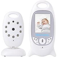 USBONLINE Baby Monitor LCD a Colori Wireless Digitale Videocamera IR LED Citofono Visione Notturna Monitoraggio Temperatura 8 Ninnananne Batteria Ricaricabile per Bambini Videosorveglianza Sicurezza