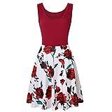 Amphia - Ärmelloses Damenkleid mit Print - Frauen ärmellose Blumendruck Sommer Strand eine Linie lässige Kleidung Partykleid(Rot,M)