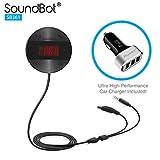 Soundbot sb361 FM Radio Wireless Transmitter Empfänger-Adapter Universal Auto Kit Musik Streaming und Freisprechen Dongle 3 Port USB KFZ-Ladegerät Bundle + magnetaufhängung