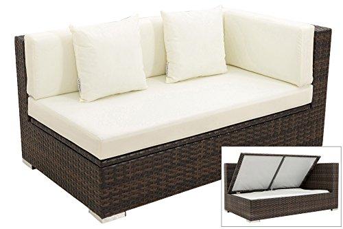 OUTFLEXX 2-Sitzer Ecksofa aus hochwertigem Polyrattan in braun marmoriert mit Kissenboxfunktion für...