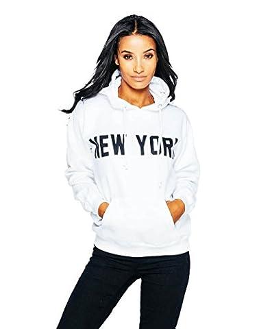 Ladies New York Slogan Graphic Print Sweat à capuche surdimensionné EUR Taille 36-42 (EUR 40 (UK 12), blanc)