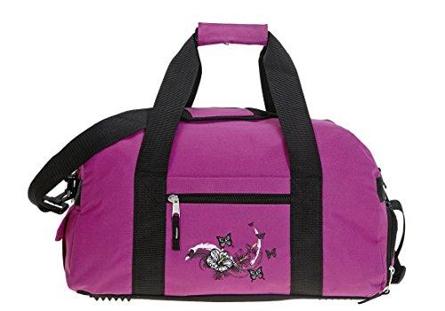 ELEPHANT Sporttasche mit Schuhfach / Naßfach Sport Tasche + Trinkflasche (FLOWER Lila-Pink) BUTTERFLY Magenta