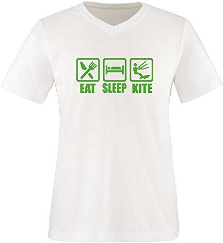 EZYshirt® Eat Sleep Kite Herren V-Neck T-Shirt Weiß/Grün