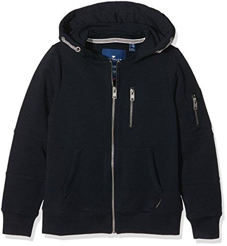 TOM TAILOR Kids cosy multi zip sweatjacket, cappuccio Bambino, Blu (dark blue), 152