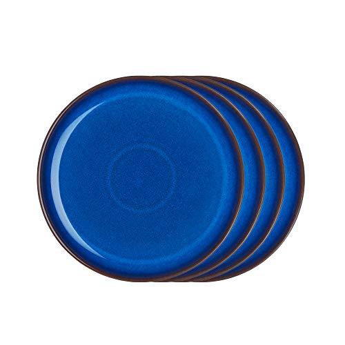 Denby IMP-004B/4 Imperial Blue Salatteller-Set, Einheitsgröße, Kobaltblau, 4 Stück Denby Blue Plate