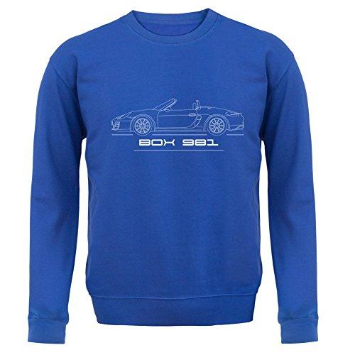 Seitenansicht Porsche Boxster 981 (2012 - 2016) - Unisex Pullover/Sweatshirt - 8 Farben Royalblau