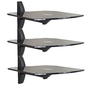 Invision® Premium Ultra-Modern AV Wall Mounted Triple Glass Shelf Units - Cantilever Swivel Arm - Corner Room Mountable - Used With All Types Of TV Brackets - For DVD, PS3, SKY, X BOX, BLU RAY Players, Projectors Etc. Each Shelf Supports 13.6KG. Please Check Your Measurements Before Purchase