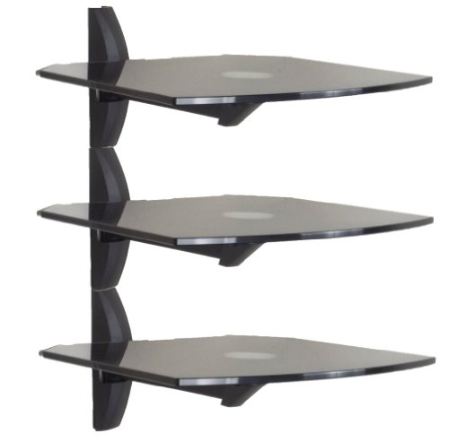 Invision® Premium Ultra-modern Av Wall Mounted Triple Glass Shelf Units - Cantilever Swivel Arm - Corner Room Mountable - Used With All Types Of Tv Brackets - For DVD, Ps3, Sky, X Box, Blu Ray Players, Projectors Etc. Each Shelf Supports 13.6kg. Please C