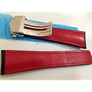 Cinturini in pelle di alligatore nero / rosso 22/18 mm con cuciture rosse per adattarsi all'etichetta Heuer