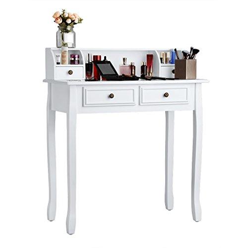 Langria tavolino da trucco per cosmetici comò da toletta bianco con 4 cassetti bianco