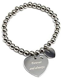 bc1688e–elástico pulsera de cuentas con corazón mensaje para siempre y siempre acero plata tono moda joyería