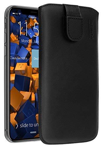 mumbi ECHT Ledertasche für iPhone X XS Tasche Leder Etui (Lasche mit Rückzugfunktion Ausziehhilfe) Iphone-leder-tasche