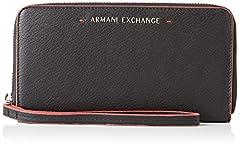 Idea Regalo - ARMANI EXCHANGE Round Zip Wristlet - Portafogli Donna, Nero, 10.1x2.5x19.0 cm (B x H T)