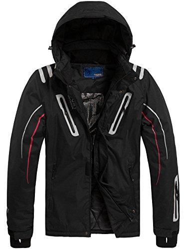 OZONEE Herren Winterjacke Skijacke Parka Windjacke Jacke Kapuzenjacke Wärmejacke Wintermantel Sportjacke RED FIREBALL F802 SCHWARZ XL