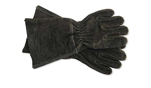 Battle-Merchant Mittelalterliche Stulpenhandschuhe aus Leder Ritterhandschuh M-XL Schwarz LARP Wikinger Piratenhandschuhe
